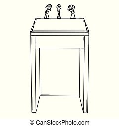 podium for political speech with microphones - Wooden podium...