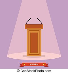 Wooden podium tribune rostrum stand with microphones