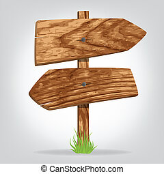 pointer boards - Wooden pointer boards on a grass. ...