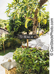 Wooden pointer with sign To Beach, tropical garden