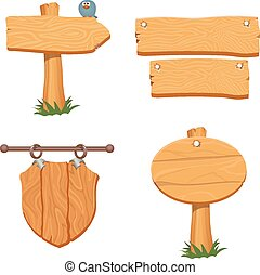 Wooden pointers and signs. Vector illustration - Wooden...