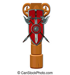 Wooden pole with a shield, a sword and two sharp halberds...