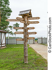 Wooden pole with direction signs