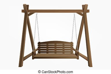 Wooden porch swing bench hanging on frame - Wooden porch ...