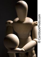 Wooden Posing Model Holding Ball