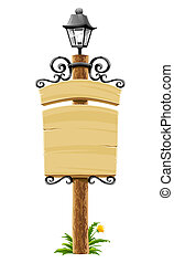 wooden post with signboard, lantern and forged decoration - ...