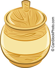 wooden pot with a lid. vector illustration