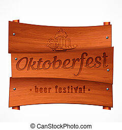 Wooden pub signboard with Octoberfest lettering