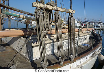 Wooden pulley and ropes mechanical tackle assembly, Oxnard...
