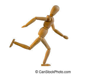 Wooden puppet is running