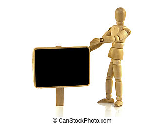wooden puppet with blackboard