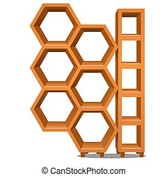 Wooden rack in the form of honeycomb isolated on white background. Vector cartoon close-up illustration.