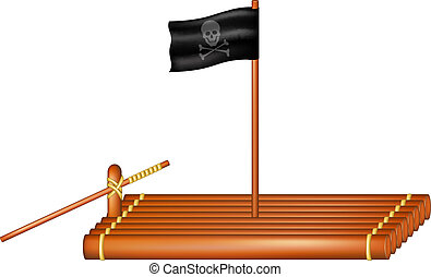 Wooden raft with pirate flag on white background