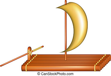 Wooden raft with sail on white background