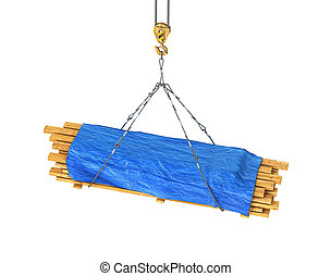 wooden rafters covered with a brisent on the tap 3d illustration
