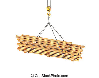 wooden rafters on a tap 3d illustration