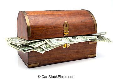 wooden receptacle I fill of tickets for hundred dollars