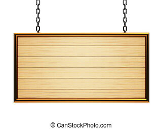Wooden rectangle signboard on chain isolated on white...
