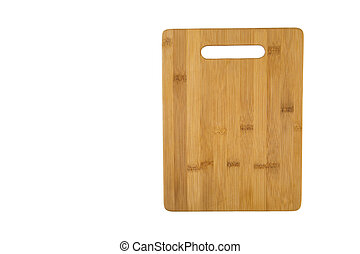 Wooden rectangular cutting Board made of bamboo, isolated on a white background horizontally with free space for text