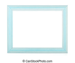 Wooden rectangular photo frame. Isolated on white background