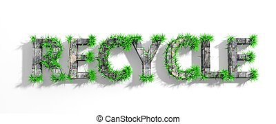 Wooden Recycle word with green grass growth isolated