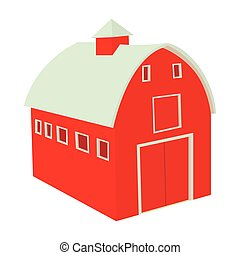 Wooden red barn icon in cartoon style