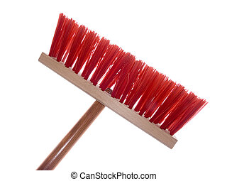 Wooden red brush for cleaning a floor isolated on a white ...