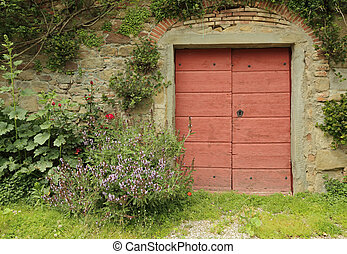 wooden red gate to the Tuscan farmhouse - wooden red gate to...