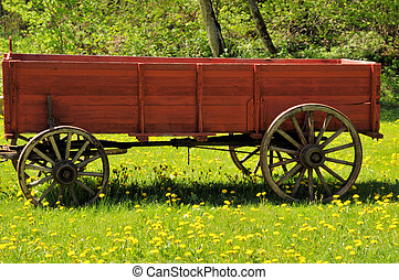 wooden red wagon