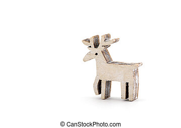 Wooden reindeer Christmas decoration on white background
