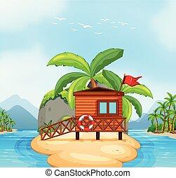 Wooden resort on island