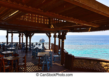 Wooden restaurant on the Red Sea in Egypt