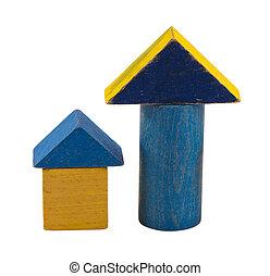 wooden retro blue log toy brick isolated on white