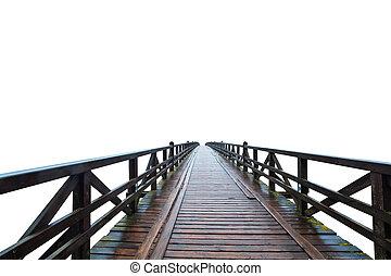 Wooden retro bridge isolated on white