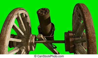 wooden retro cannon at green chromakey background