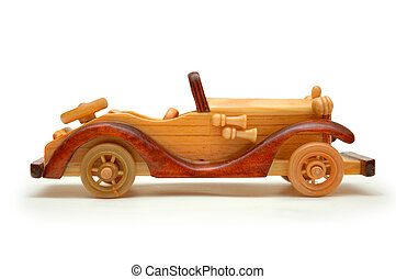 Wooden retro car isolated on white