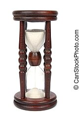 Wooden retro hourglass isolated on white background