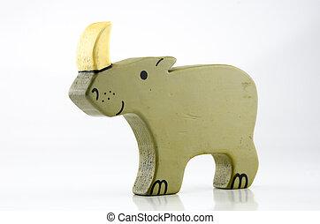 Wooden Rhinocerus Three Quarter on White - A three quarter...