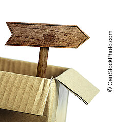 Wooden road sign out of box