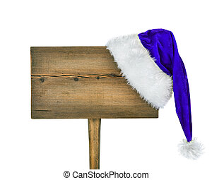 wooden road sign with Santa  hat isolated on a white background