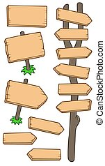 Wooden roadsigns collection - isolated illustration.