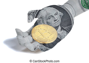 Wooden robot hand with portrait of George Washington one U.S. dollar bill holding bitcoin