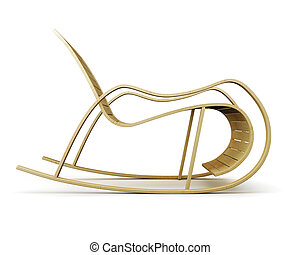 Wooden rocking chair side view isolated on white background. 3d