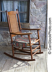 Superb Rocking Chair On Front Porch Old Well Used Rocking Chair Ibusinesslaw Wood Chair Design Ideas Ibusinesslaworg