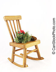 Wooden rocking chair with Christmas decorations