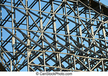 Wooden roller coaster support beams