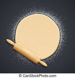 Wooden rolling pin and kneading dough with flour. Vector.