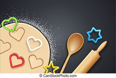 Wooden rolling pin, kneading dough with flour and cookie cutter.