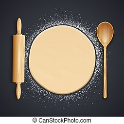 Wooden rolling pin, spoon and kneading dough with flour. Vector.