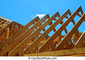 wooden roof construction, symbolic photo for home, house building